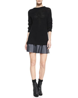 Vince Mesh Stitch Long-Sleeve Crewneck Top & A-Line Leather Miniskirt