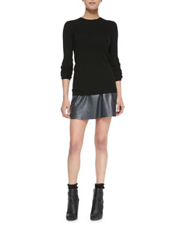 Vince Long-Sleeve Ribbed-Knit Top & A-Line Leather Miniskirt