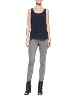 Vince Scoop-Neck Loose Silk Tank & Side-Stripe Skinny Jeans