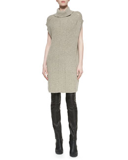 Vince Ribbed Turtleneck Sweaterdress & Zip-Pocket Leather Leggings
