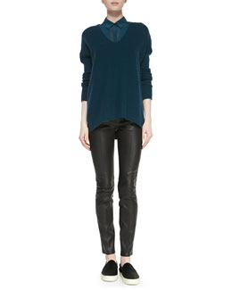 Vince Drop-Sleeve Ribbed Knit Sweater, Sheer-Stripe Sleeveless Silk Blouse & Zip-Pocket Leather Leggings