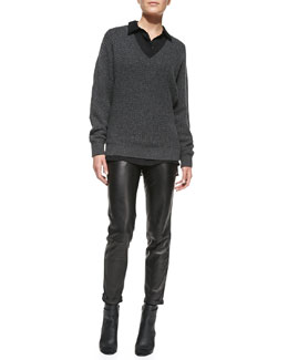 Vince Textured Knit V-Neck Sweater, Long-Sleeve Button-Down Blouse & Leather Strapping Trousers