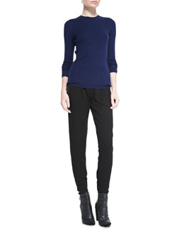 Vince Reverse-Seam Crewneck Sweater & Leather Strapping Trousers