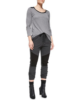 Vince Contrast-Trim Slub Tee & Quilted-Detail Jersey Sweatpants