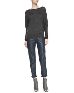 Vince Dolman Boat-Neck Top & Strapping Cuffed Straight-Leg Leather Pants