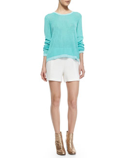 Rag & Bone Arianna Knit Long-Sleeve Pullover & Florencia High-Waist Leather-Trim Shorts