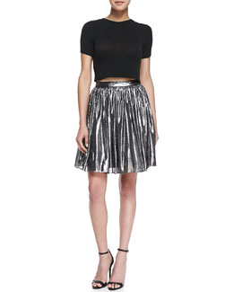 Alice + Olivia Lizzie Metallic Pleated Full Skirt & Short-Sleeve Crewneck Crop Top