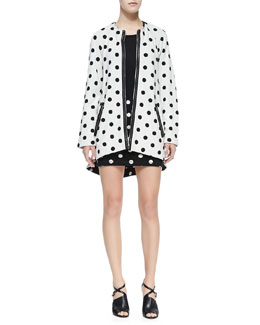 Alice + Olivia Collarless Dotted Zip Coat & Elana Dotted Slim Miniskirt