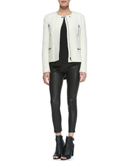 Vince Boucle Moto Jacket, Cap-Sleeve Silk-Yoke Shirttail Tee & Cropped Leather Leggings
