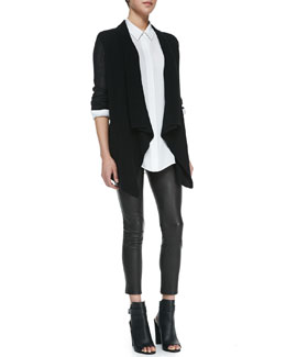 Vince Foil Print Drape Cardigan, Classic Long-Sleeve Silk Blouse & Cropped Leather Leggings