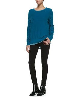 Vince Long Sleeve Cashmere Sweater, Lightweight Long-Sleeve Crew Top & Five-Pocket Denim Leggings