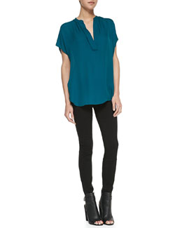 Vince Cap-Sleeve Popover Blouse & Five-Pocket Denim Leggings