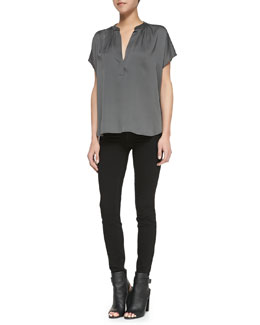 Vince Leather-Contrast Silk Popover Blouse & Five-Pocket Denim Leggings