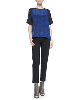 Vince Printed Contrast-Sleeve Silk Tee & Leather-Pocket Ponte Trousers