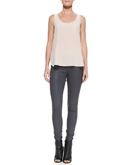 Vince Scoop-Neck Loose Silk Tank & Zipper-Cuff Coated Skinny Pants