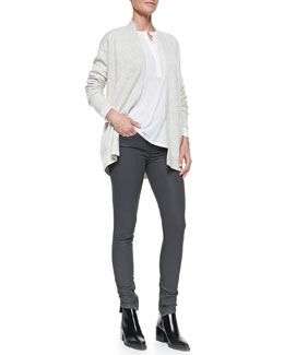 Vince Mixed-Gauge Open Knit Cardigan, Long-Sleeve Slub Henley & Zipper-Cuff Coated Skinny Pants