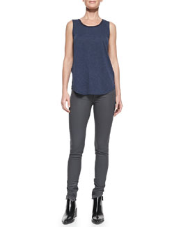 Vince Contrast-Trim Slub Tank & Zipper-Cuff Coated Skinny Pants