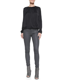 Vince Drape-Front Satin Blouse & Zipper-Cuff Coated Skinny Pants