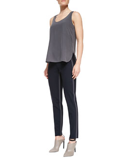 Vince Scoop-Neck Loose Silk Tank & Side-Strap Straight-Leg Pants