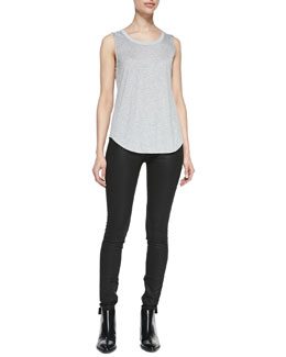 Vince Contrast Back Yoke Tank & Zipper-Cuff Coated Skinny Pants
