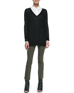 Vince Lightweight V-Neck Drop-Sleeve Sweater, Classic Long-Sleeve Silk Blouse & Cropped Stretch-Knit Pull-On Leggings