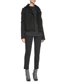 Vince Asymmetric Shearling/Suede Zip Jacket, Seed-Stitch Long-Sleeve Wool Sweater & Leather-Trim Ponte Trousers