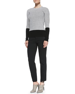 Vince Colorblock Crewneck Cashmere Sweater & Leather-Trim Ponte Trousers