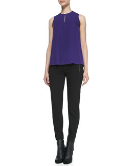 Vince Pintuck Shell with Keyhole Front & Leather-Trim Ponte Trousers