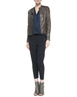 Vince Quilted-Sleeve Leather Moto Jacket, Sleeveless Satin/Slub Surplice Top & Satin-Piped Wrapped Seam Pants