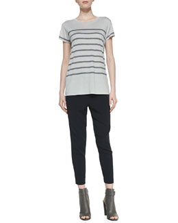 Vince Short-Sleeve Striped Jersey Tee & Satin-Piped Wrapped Seam Pants