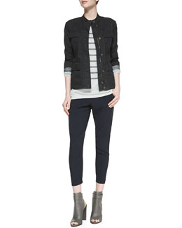 Vince Zip Cotton Cargo Jacket, Long-Sleeve Striped Top & Satin-Piped Wrapped Seam Pants