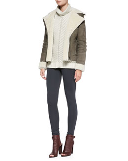 Vince Shearling Fur-Lined Suede Zip Jacket, Chevron Turtleneck Sweater & Scrunch-Ankle Leggings
