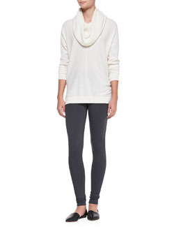 Vince Seamed Cowl-Neck Sweater & Scrunch-Ankle Leggings