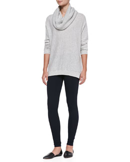 Vince Seamed Cowl-Neck Sweater & Knit Scrunch-Ankle Leggings