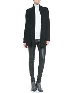 Vince Ribbed Open-Front Knit Cardigan, Favorite Slim Lightweight Turtleneck & Smooth Leather Leggings