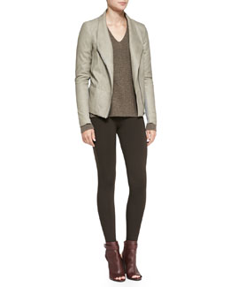 Vince Leather/Cashmere Scuba Jacket, Chevron Double V-Neck Sweater & Scrunch Ankle Jersey Leggings