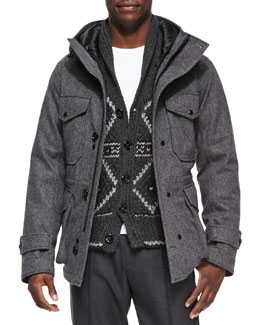 Moncler Willie Herringbone Hooded Jacket & Nordic Heavy-Knit Cardigan
