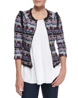 Milly Fringe-Trim Tweed Zip Jacket & Pleated Cut-In Flowy Tank