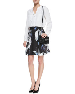 Milly Gathered-Neck Long-Sleeve Silk Blouse & Katie Floral-Print A-Line Skirt