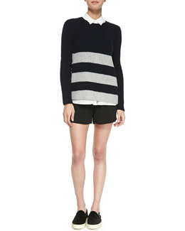 Vince Striped Ribbed-Knit Sweater, Sheer-Stripe Sleeveless Silk Blouse & Drop-Yoke Boxer Shorts