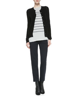 Vince Button-Down Petite-Chevron Cardigan, Long-Sleeve Striped Top & Leather-Pocket Ponte Trousers