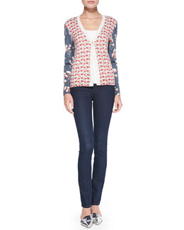Tory Burch Shia Mixed-Print Wool Cardigan & Super Skinny Denim Jeans