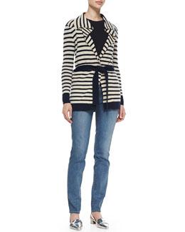 Tory Burch Vaile Cashmere Cardigan, Sienna Cashmere/Silk Peplum Sweater & Super Skinny Denim Jeans