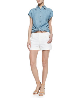 Alice + Olivia Oren Chambray Cuffed-Sleeve Shirt & Cady Cuffed Shorts