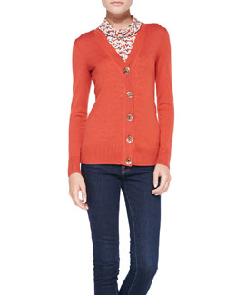 Tory Burch Simone Signature Knit Cardigan & Peg Silk Cowl-Collar Shell
