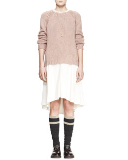 Brunello Cucinelli Sequined Stretch-Cashmere Raglan-Sleeve Sweater, Jewel-Neck Blouson High-Low Silk Dress & Striped Knee Socks