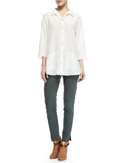 Theory Freyza Blaire Button-Up Hip-Pocket Shirt & Farment Wish Chipri Skinny Pants