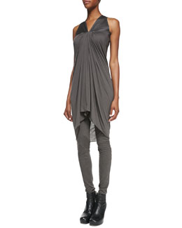 Rick Owens Lilies Leather-Top Gathered Jersey Tunic & Heavy Jersey Pull-On Leggings