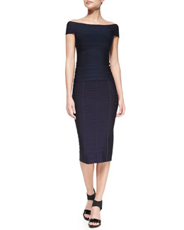 Herve Leger Off-The-Shoulder Bandage Knit Top & Pencil Skirt