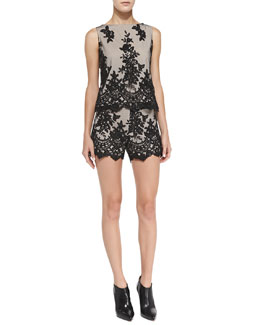 Alice + Olivia Amal Boxy Lace Top & Contrast Lace Slim Scalloped Shorts